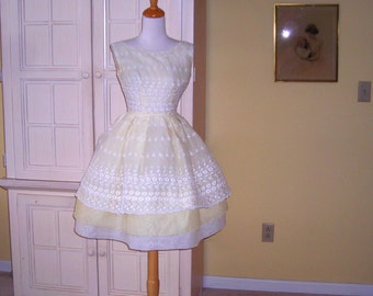 60's white and yellow eyelet and organdy prom dress, dance dress, party dress, size X-small