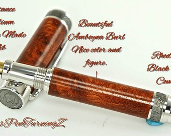 Custom Wooden Pen Fountain Beautiful Highly Figured Amboyna Burl Rhodium and Black Titanium 735FPXLA