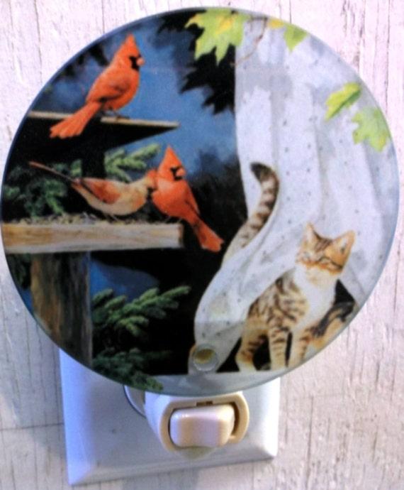 cardinal night light, bird night light, cat night light, pretty night light, bathroom night light, kitchen night light,
