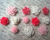 Resin Flowers, Pink and White Cabochon Flowers, 12 pcs, Flat Back Flowers, Perfect for Bobby Pins, Rings, Earrings