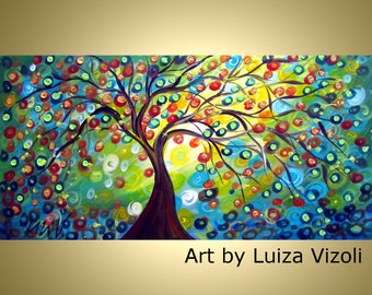 Painting Print Embellished Canvas Colorful Tree Whimsical Art for Kids Room GOLDEN RAIN by Luiza Vizoli