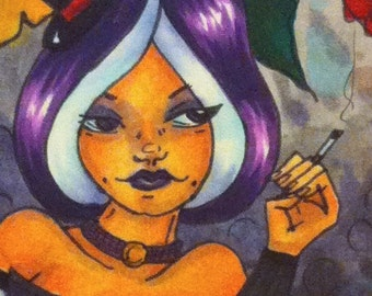 Grim Girl Ring Master ACEO Original Art