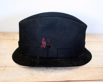 vintage black felt fedora hat size 7