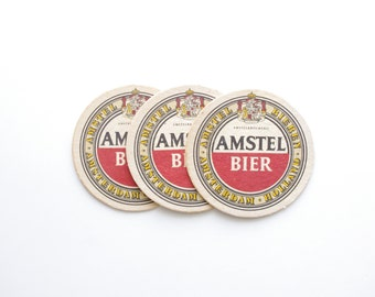 Vintage Amstel Beer Coaster - Set of 3 - Vintage Bar, Beer Advertising