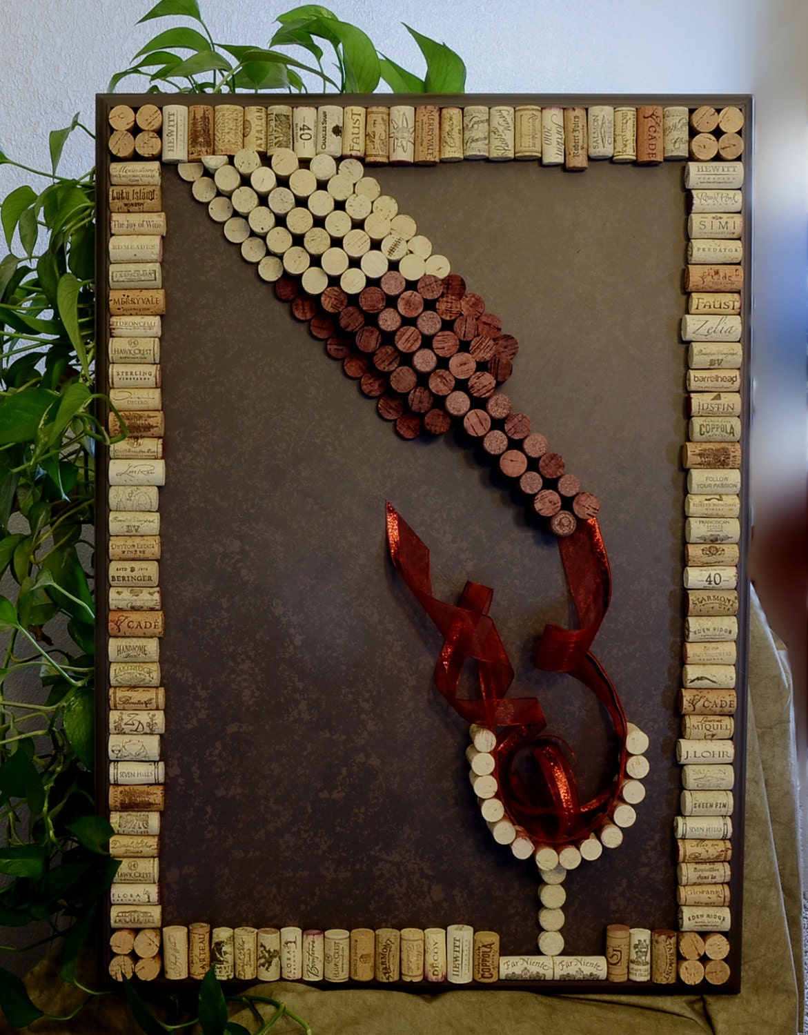 Wine bottle wine cork wall art large decorative by for Cuadros con corchos