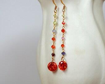 Multi gemstone earrings Wire wrapped long chain earrings Gemstone dangle earrings Orange cystal drop earrings Flapper style Party jewelry