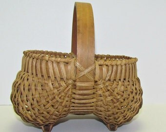 Vintage Buttocks or Egg Basket, Splint Woven, Footed Basket, Farmhouse Storage Basket, Country Decor