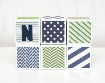 Personalized Baby Blocks - Nursery Decor - SET OF 6 - Boy - Navy Kelly Green White