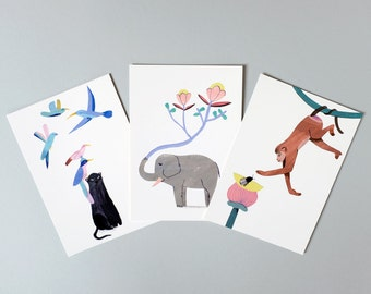 Set of 3 postcards, Trio of the jungle, Illustration, Digital print