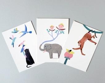 Lot de 3 cartes postales, Trio de la jungle, Illustration, Impression numérique