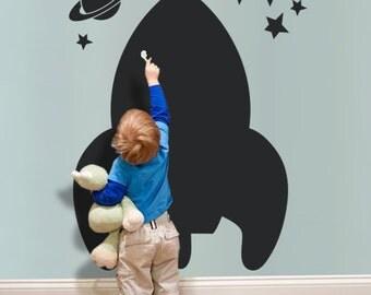 Spaceship Chalkboard - Kids Wall Decal