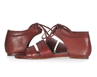 TRIBAL DANCE. Cognac leather shoes / women's sandals / leather shoes /flat leather shoes. Sizes 35-43. Available in different leather colors