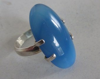Blue Agate ring - Sterling Silver stone Ring - size 7