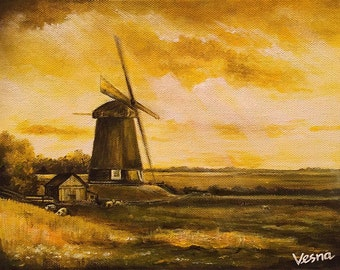 """SOLD! Windmill - Acrylics on 8""""x10"""" Canvas"""