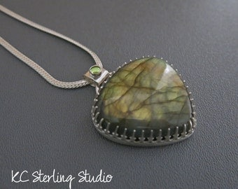 Large labradorite and sterling silver pendant necklace