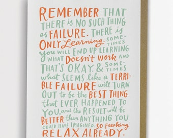 Thoughts On Failure Encouragement Card / Inspirational Card, No Such Thing As Failure, Emily McDowell Card / No. 240-C