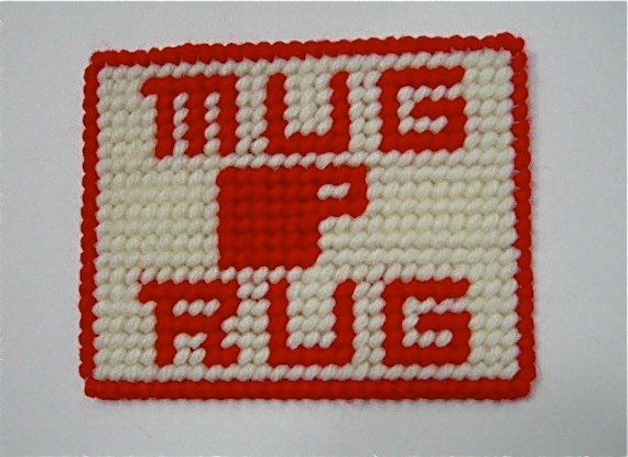 Mug Rug Coaster White With Red Lettering