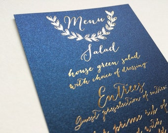 Gold Foil Calligraphy Wedding Menu Navy Blush Elegant Nautical Laurel Wreath High End Luxurious Navy Paper Wedding Menu