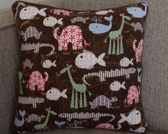 """Animal Pillow in Brown, Light Blue, Red and Green - """"All About Animals"""" Pillow"""