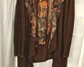 BOHO ZEN SWEATER/Wrap, Gorgeous Metallic Russet-Gold Autumn Colors, Art to Wear, Asymmetrical Kimono Style, Altered Couture, Boho Arty