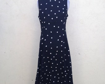 Vintage black dress, classic, classy, poka dots, summer dress, cut out, tie back, size 10
