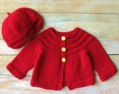 Baby Girl Shower Gift - Hand Knitted 100% Wool Infant Girls Cardigan and Hat Set - Red Baby Cardigan - Baby Girl Size 6 to 9 Months