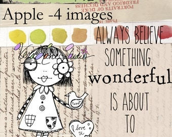 Apple and Tweet: New whimsical girl with bird digi stamp inb png and jpg files