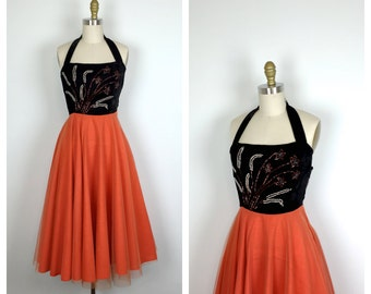 50s Fit and Flare Halter Dress • 1950s Black and Orange Party Dress • Beaded Velvet Bodice • xs • xxs