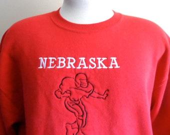 go huskers vintage 90's UN University of Nebraska Football college graphic sweatshirt crew neck red fleece pullover jumper embroidered logo