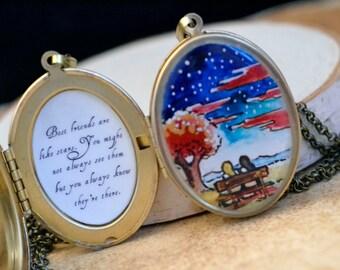 2 Friend Lockets, Best friend locket, brass hand painted friends like stars