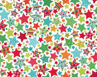 Fat Quarter Christmas Festive Stars Cotton Quilting Fabric Makower 1494 1 Stars