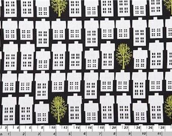 Fat Quarter Village and Trees Black Cotton Quilting Fabric Copenhagen Print