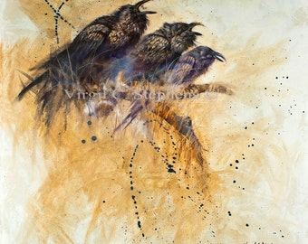 Raven art, Cheering Section, print from my original oil painting of  Pine Ravens cheering, black bird, crows, birds