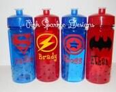 Kids Water Bottle - Super Hero - Personalized