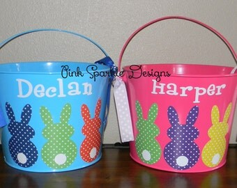 Personalized Metal Easter Pail Polka Dot Bunnies
