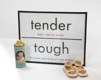 FLASH CARD - Tender Tough - Antonym - Art Print - Baby - Shower Gift - Christening - Room Decor - 11 x 14 - Black White - Industrial