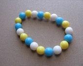 JEWELRY SALE- Girls Bracelet- Beaded Children's Jewelry- Blue, White, Yellow