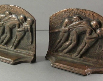 Antique Cast Iron Bookends / Galley Slaves / Copper Finish / 1920s