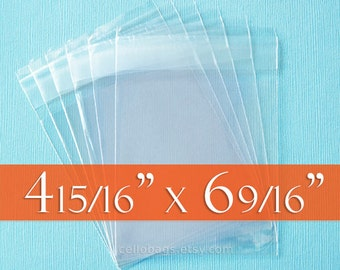 500 4 15/16 x 6 9/16 Resealable Cello Bags for A6 Card w/ Envelope, Choose Tape on Flap or Tape on Body Acid Free