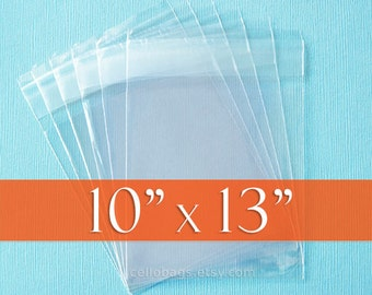 100 10 x 13  Inches, Resealable Cello Bags, Acid Free Crystal Clear Photo Packaging