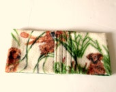 Male Dog Belly Band - More Colors/Prints Shown, Hunting Dog Print Fleece with Flannel Lining, Cream, Rust and Green Customize to Fit