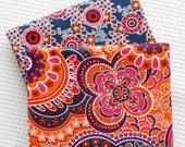 Large Flower Cotton Fabric, Shabby Chic Orange Purple Floral Cotton Quilting Fabric-  1/2 yard