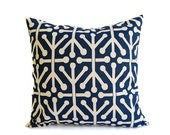 Navy pillow cover One 18 x 18 inches Navy Blue and Natural Aruba navy throw pillows blue pillows geometric pillow covers cushion covers