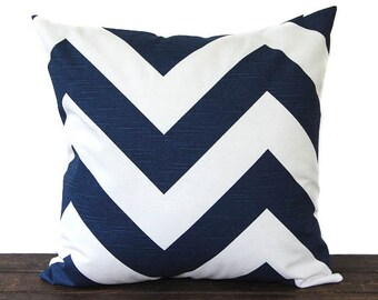 Premier Navy chevron pillow cover One cushion cover navy blue and white throw pillow covers modern decor Zippy