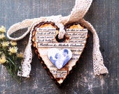 First Anniversary Gift - Personalized Couple Gift - Rustic Chic Heart Ornament