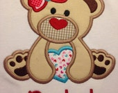 Heart Bear, Teddy Bear, Valentine Bear, Valentines Day, Applique Shirt, Personalize Free