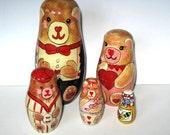 Vintage Bear Family Nesting Dolls, Valentine , Toys, Home Decor, Retro Collectible, gift idea