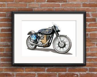 AJS 7R Motorbike POSTER PRINT A1 size
