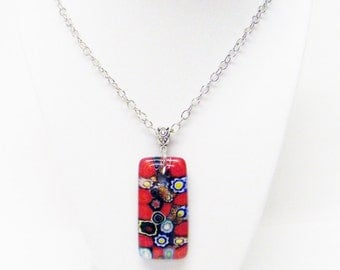 """Long Red & Dichroic Rectangular Fused Glass Pendant Necklace (25"""")"""