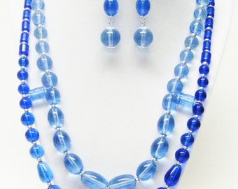 2 Strand Blue Transparent Multiple Shapes & Sizes Glass Bead Necklace and Earrings Set